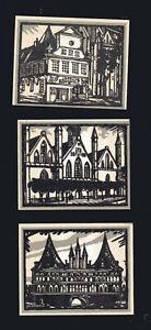 3x-Notgeld-50-75-Pf-1-M-LUBECK-Vereinigung-zur-Kunstpflege-1921-top