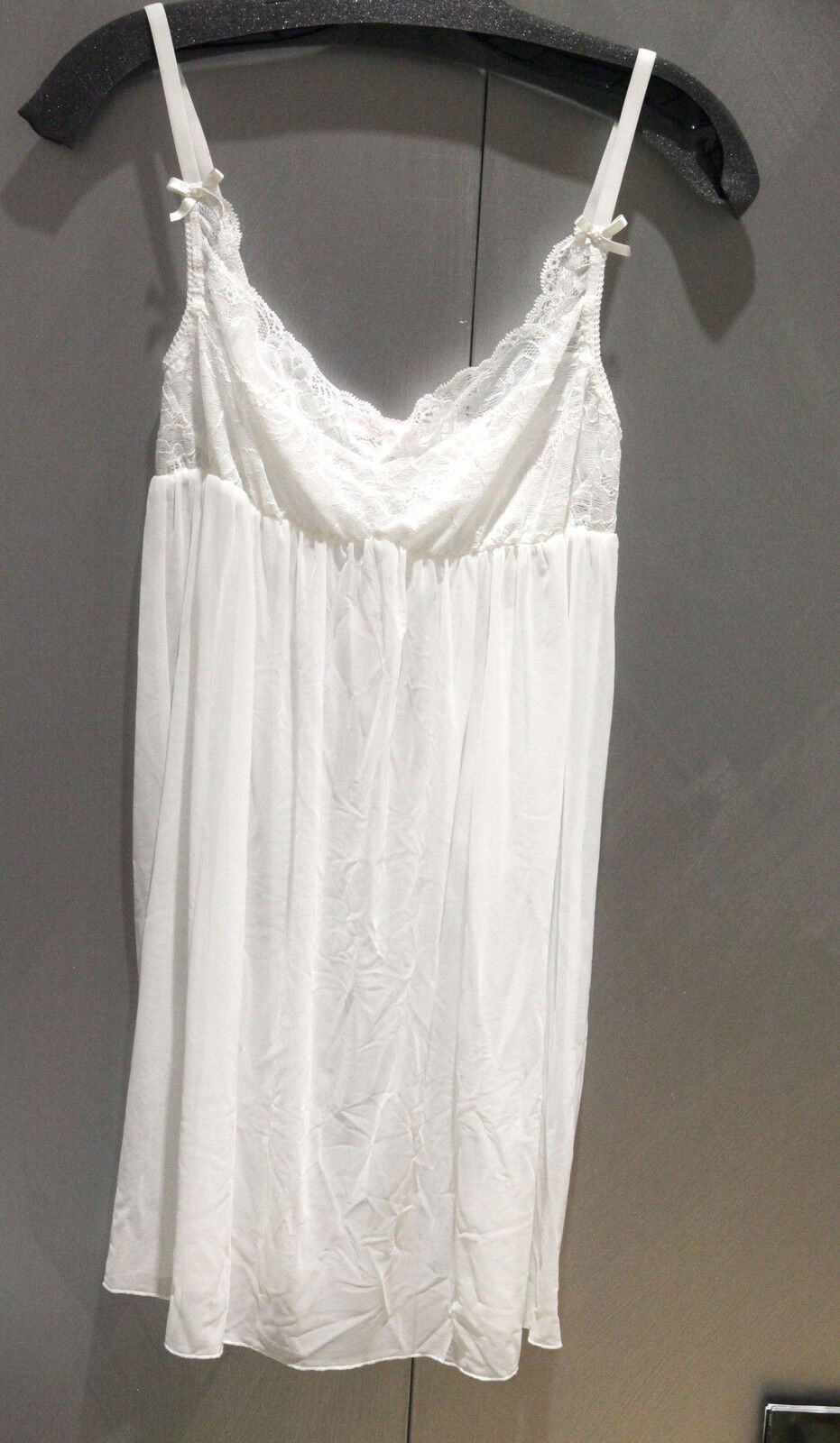 NWT Fleur't Womens White Lace Bodice Babydoll with Thong sz L FS