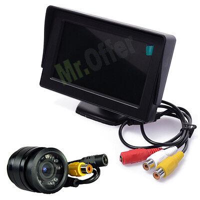 "Kit telecamera retromarcia monitor a colori TFT 4.3/""+Telecamera ad incasso 8 led"