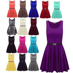 New-Womens-Ladies-Belted-Sleeveless-Franki-Flared-Party-Swing-Skater-Dress-Top