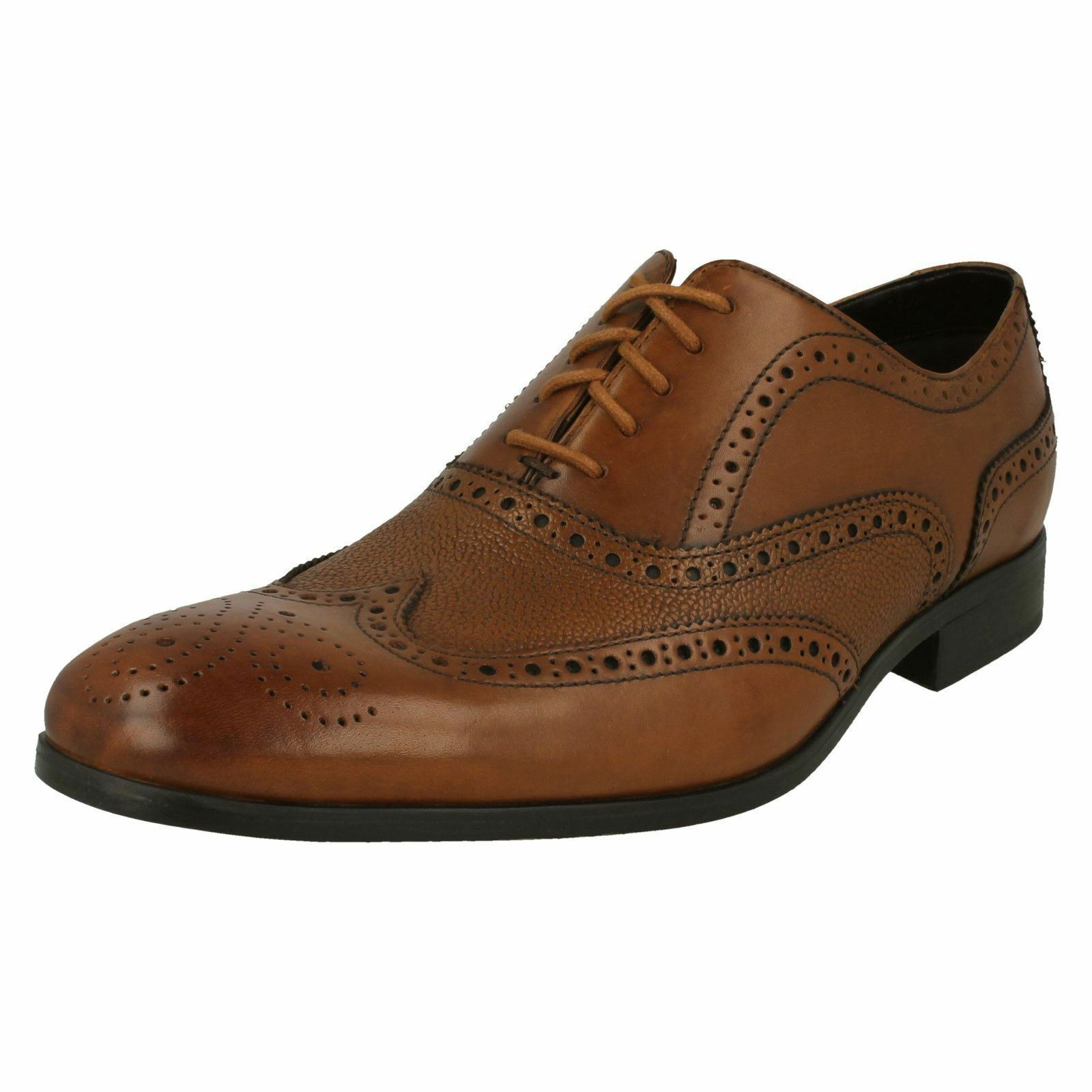 CLARKS Gilmore Limit Mens Tan Leather Brogue Lace Up shoes