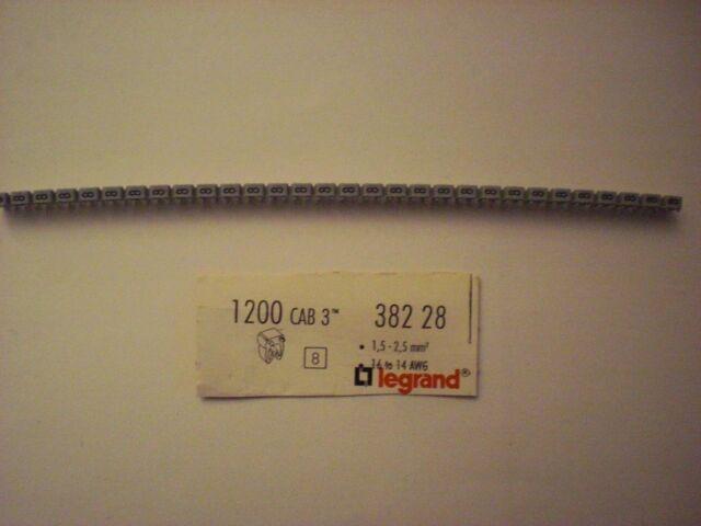 30 Stck Legrand 38228 Kabelkennzeichen Ziffer 8 Farbe Grau 1,5-2,5 mm² CAB3