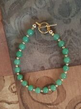 HANDMADE GREEN JADEITE BRACELET WITH 14K GOLD FILLED BEADS $26.99!!