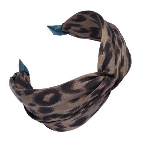 Women Lady Leopard Print Headband Hairband Knot Stretch Soft Fabric Band UK