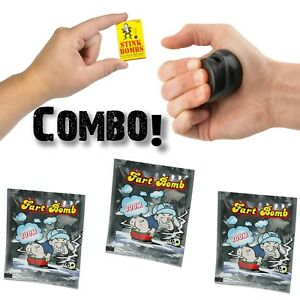 3 Stink Bombs + 3 Fart Bomb Bags + 1 Le Tooter Farting Pooter ~ COMBO DEAL!