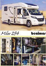 Fiat Ducato Benimar Mileo 294 2014 catalogue brochure motorhome caravan