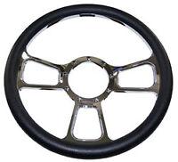 Billet Steering Wheel, Chromed 14 Gt Sport Style With Black Leather Grip