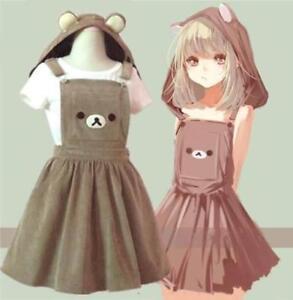 196261b8d9 Image is loading Plus-Size-Rilakkuma-Suspender-Skirt-Girls-Women-Overalls-