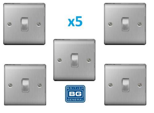 5x BG Nexus 1 Gang 2 Way Light Switch Brushed Steel Satin Chrome Insert NBS12