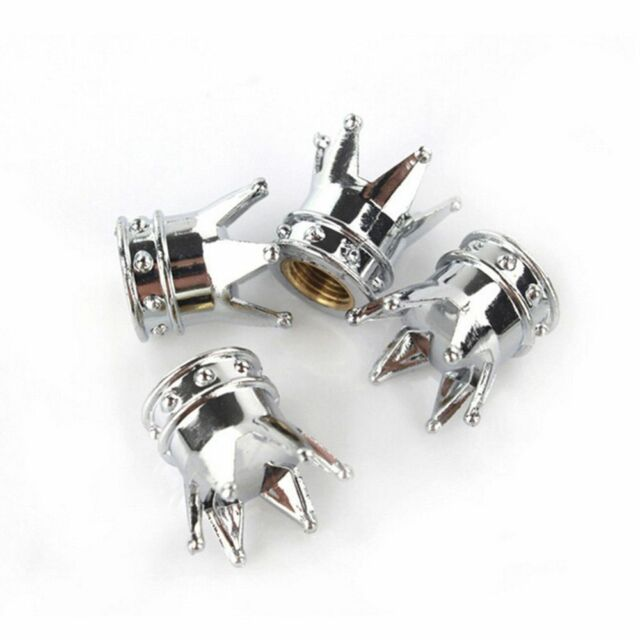 4Pcs Dust Cap Universal Chrome Style Cover Tire Valve Cap Crown Shaped Car