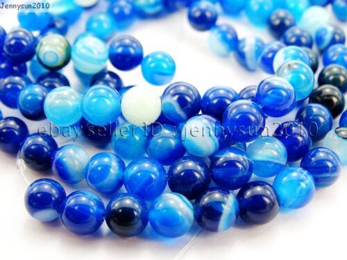 Natural Blue Agate Gemstone Stripe Round Beads 15.5/'/' Strand 6mm 8mm 10mm 12mm