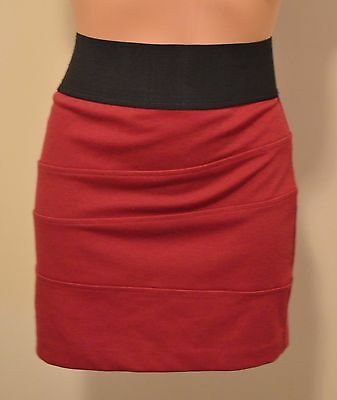 Charlotte Russe Size M Red Burgundy Maroon Pencil Skirt Elastic Waist Stretch P