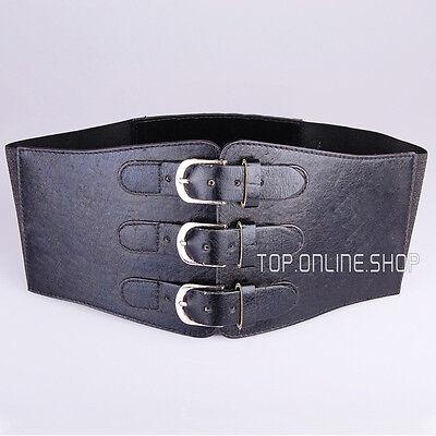 Womens Three Buckle Wide Corset Belt Elastic 12cm Wide Cinch M-4XL AU