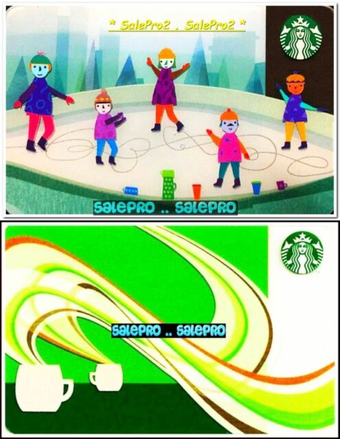 2x STARBUCKS 2010 COFFEE AROMA FIGURE SKATING RINK COLLECTIBLE GIFT CARD LOT