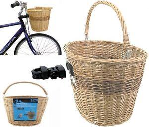 m wave weidenkorb vorne mit clip on halter fahrrad weiden korb fahrradkorb neu ebay. Black Bedroom Furniture Sets. Home Design Ideas