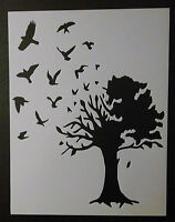 Birds Flying Out Large Country Tree 8.5 X 11 Custom Stencil Fast Free Shipping