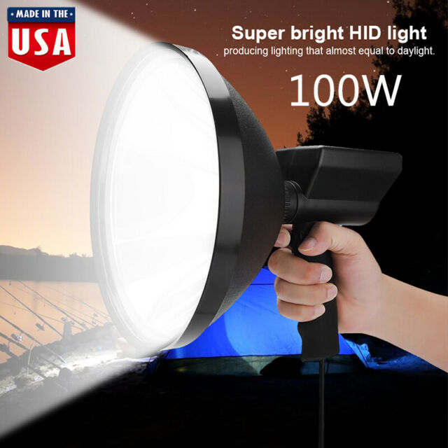 "100W HID 9/"" 240mm Handheld Camping Hunting Fishing Strong Lamp Spotlight 12V US"