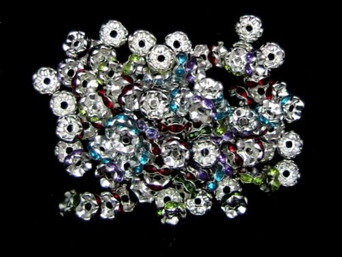 80 x 8mm plaqué argent mix pierre spacer beads bijoux craft beading O147