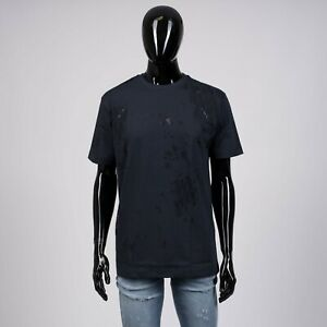 DIOR-HOMME-690-Navy-Tshirt-With-Cut-amp-Sew-Shinethrough-Oblique-Logo
