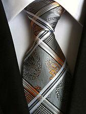 (NT152) 8cm Width Grey Necktie Wedding Office Business Party Formal Tie For Men