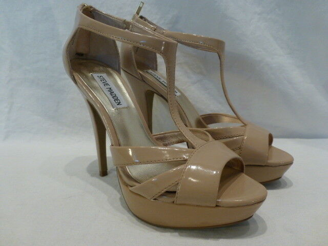Steve Madden Nude Patent Leather Platform T-Strap Pumps femmes chaussures 7.5M  110
