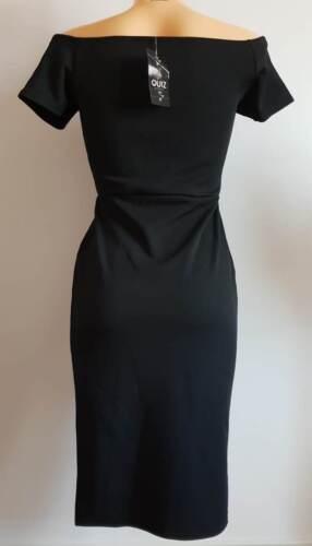 New Ex Quiz Ladies BLACK Bardot Bodycone Dress Size 6-16