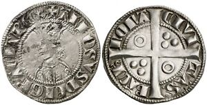CROAT-SPAIN-ALFONSO-II-1285-1291-Barcelona-VERY-SCARCE-SILVER-PLATA
