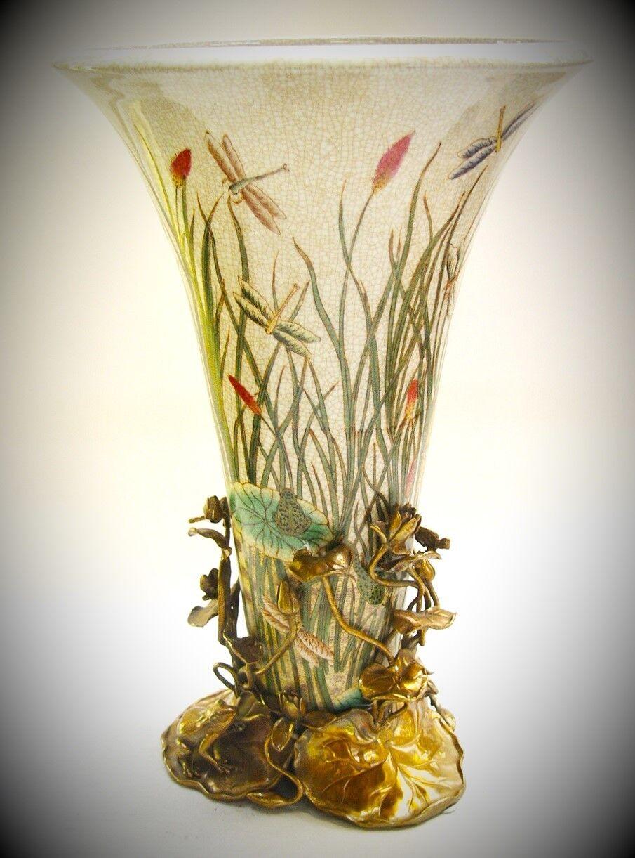 Blaumen Vase Luxus im Jugendstil Porzellan Bronze Vintage Ästhetik edles Geschenk