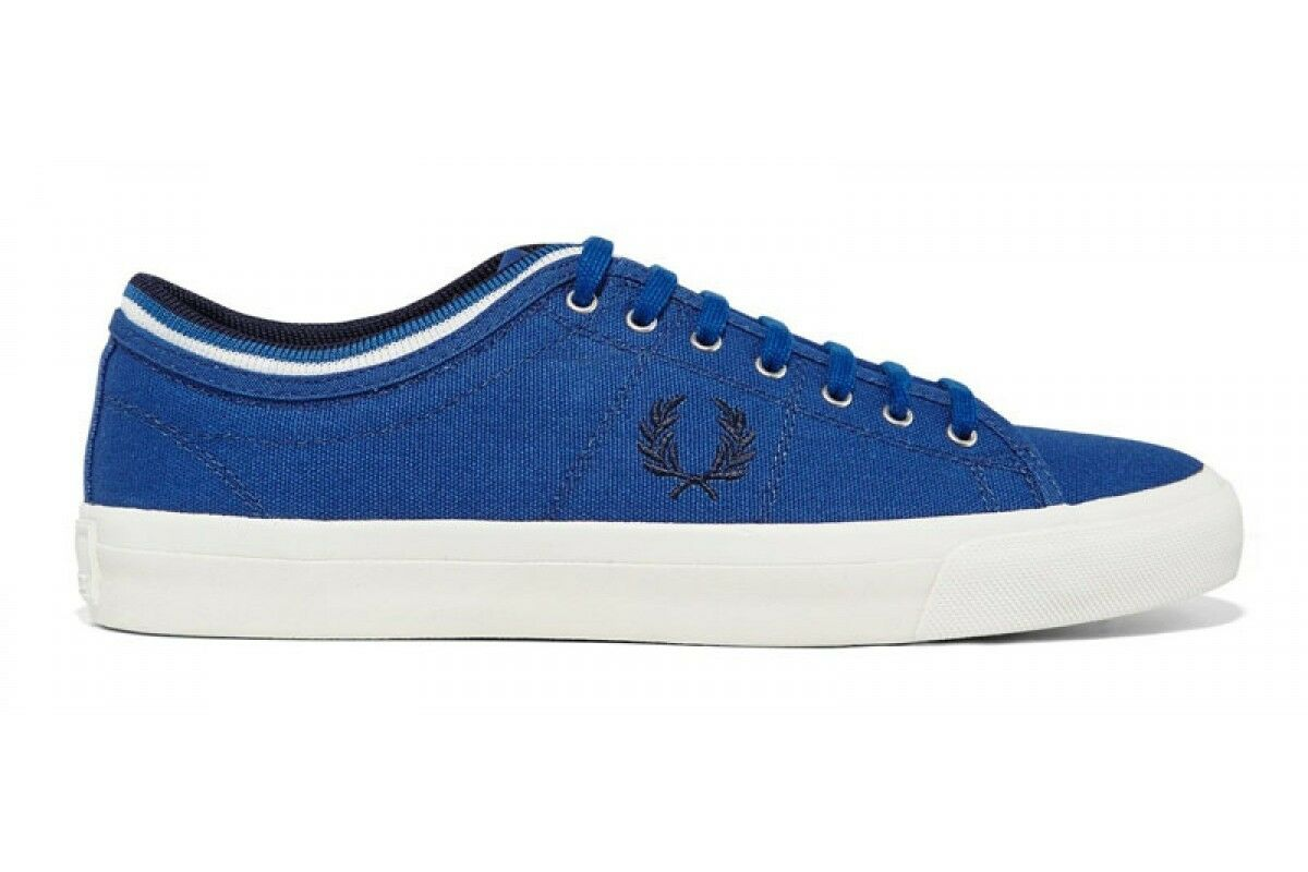 Fred Perry Men's Kendrick Tipped Cuff Canvas Shoes Grey Trainers B5210-955
