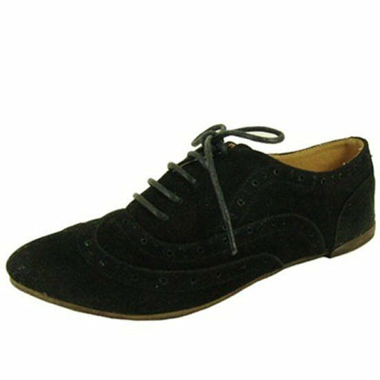 Qupid ballerina lightweight lace up oxford wing tip women's flats faux suede