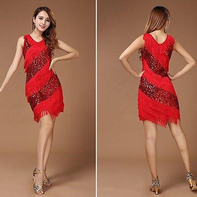 Adult Lady Women Cocktail Party Club Latin Dance Sequins Fringes Dress miniskirt