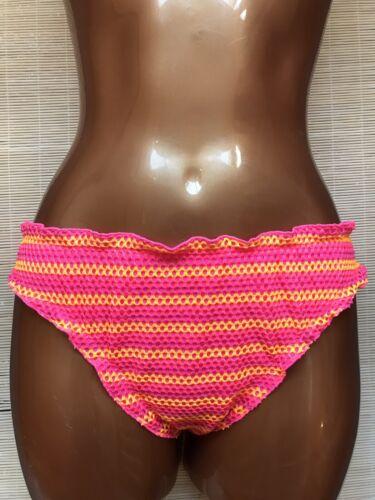 Femmes Taille 18 20 rose fluo /& orange à rayures Crochet Bas De Bikini Slips