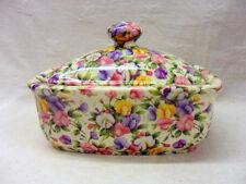 Ditsy sweet pea chintz design butterdish by Heron Cross Pottery