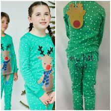 NEW Kids Boys Girls Organic Cotton Rudolph Reindeer Christmas Xmas Pyjamas Pjs