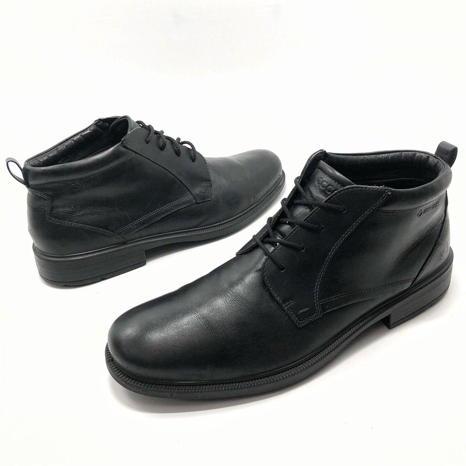 ✅❤️✅8 ECCO Chukka Ankle Boots Mens EU 46 US 12- 12.5 Black Leather Shoe Lace Up