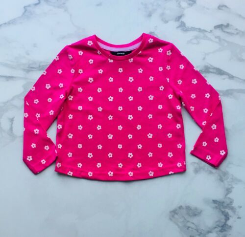 18-24 MONTHS FREE P/&P GEORGE HOT PINK FLOWER GIRLS LONG SLEEVE T-SHIRT TOP TEE
