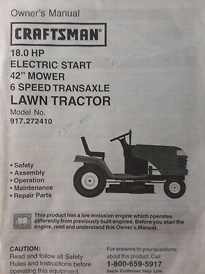Sears Craftsman 18 0 H P 42 Lawn Tractor Amp Mower Owner