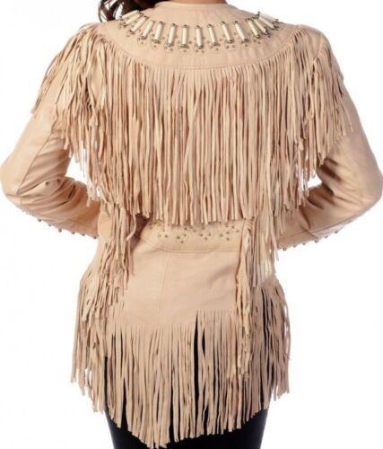 Womens Suede Leather Beige Fringe Native American Western Style Cowboy Jacket