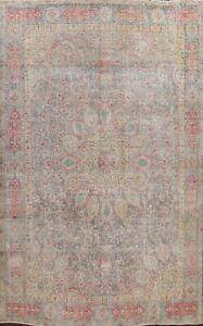 Traditional Semi Antique Floral Area Rug Wool Hand-knotted Oriental Carpet 9x12