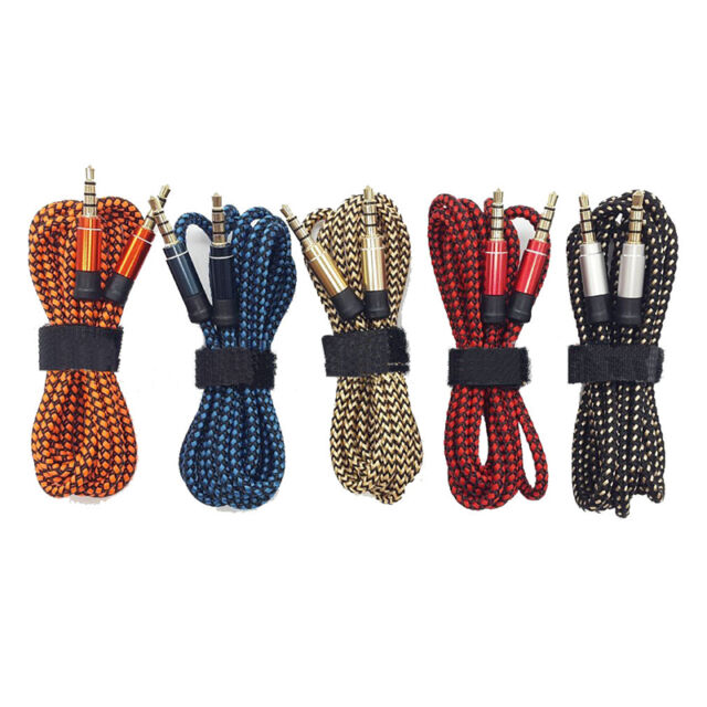 1.5M Braided Fabric 3.5MM Male To Male Audio Cable AUX Cord For MP3 Car iPod Lot
