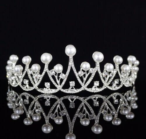 Elegant Pearl Rhinestone Tiara Crown Headband Bridal Wedding Prom Party Wed T19