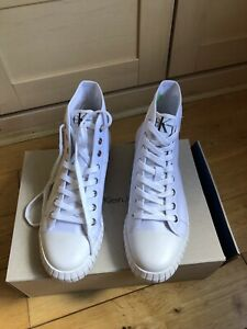 33eff9cbf5d24 Details about CK women's high top white boots brand new with box size 7 UK