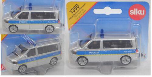 Siku Super 1350 VW t5 Facelift policía-camiones m alta azul barra de luz
