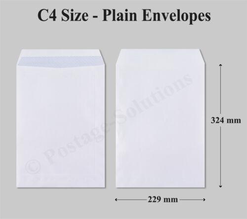 500 C4 Envelopes White Plain 90gsm 324mm x 229mm Self Seal Office Letter Pack
