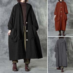 Women Kaftan Loose Long Sleeve Casual Button Long Treach Coat Warm Winter Jacket