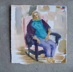 Fabulous Details About Original Watercolor Painting Chubby Man Or Woman Sitting In A Rocking Chair Pdpeps Interior Chair Design Pdpepsorg