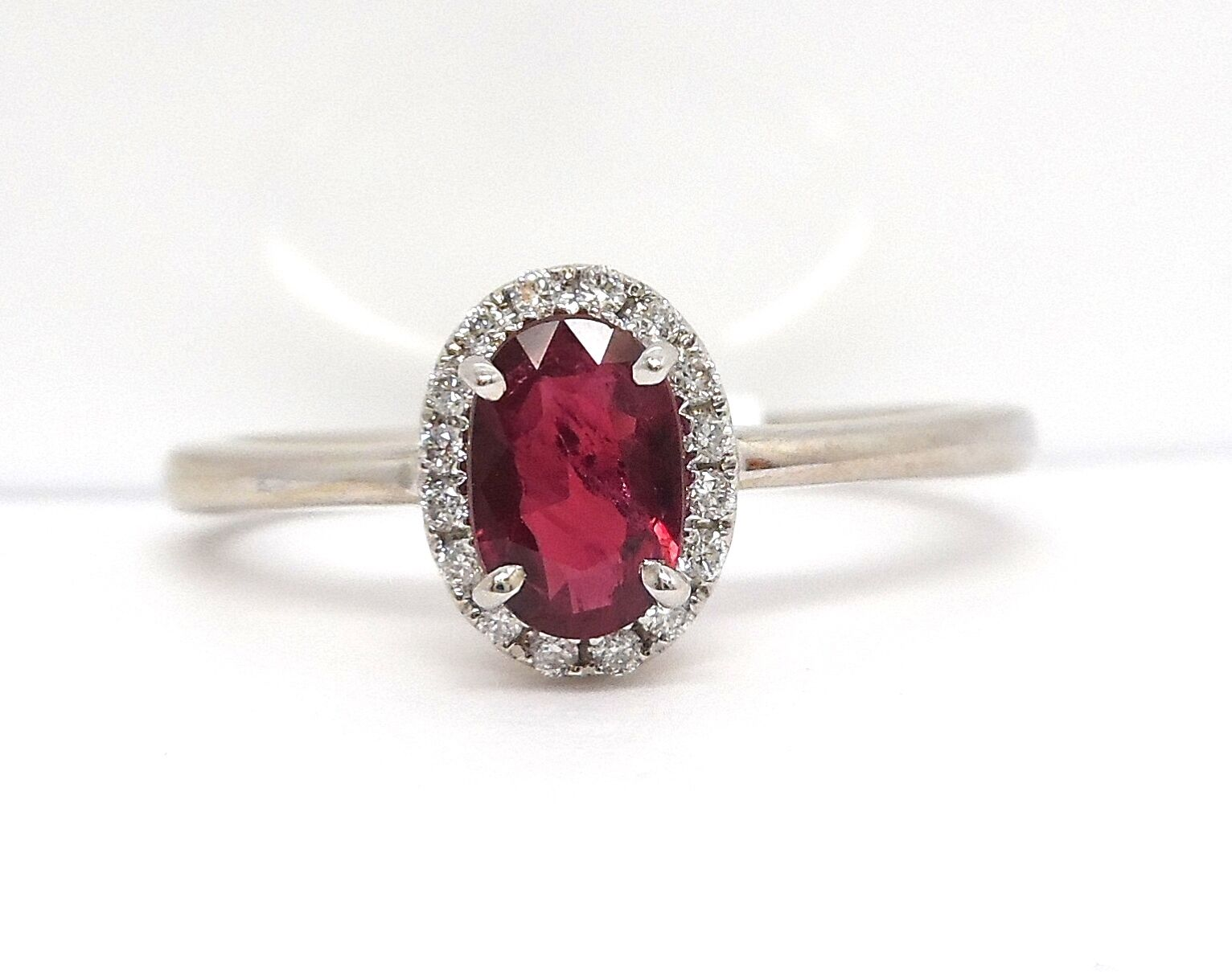 14K WHITE gold OVAL HALO DIAMOND AND RUBY RING