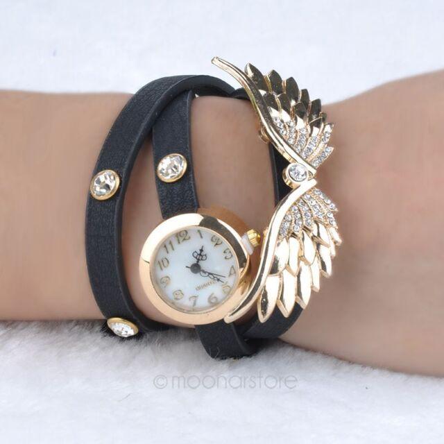 Fashion Lady Bracelet Crystal Wings Analog Watch Quartz Girl's Retro Wrist Watch