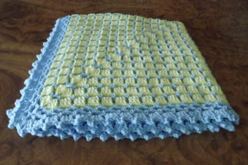 Handmade NEW crochet baby  blanket Blue and Yellow Afghan Shawl lap robe