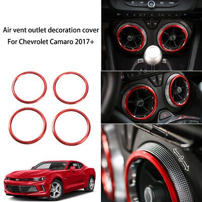 Red JeCar Dash Board Left /& Right Air Outlet Vent Ring Cover Sticker ABS Decor Trim for Chevrolet Camaro 2017+